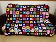 Free shipping  Multi color Granny  Hand Crochet Square Blanket - Baby Blanket newborn  - 150cm*120cm - 1 PCS / LOT(China (Mainland))