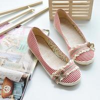 2013 women's spring fashion shoes fashion flat heel single shoes round toe bow flat canvas shoes