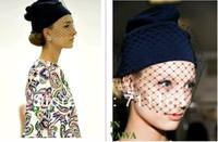 New Arrives Fashion Womens Ladies Veiled beanie hat Rihanna Miley Rita Ora beanie with veil birdcage fascinator