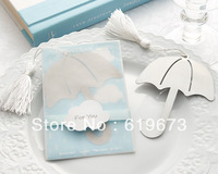 "Wholesale ""Showers of Love"" Openwork Umbrella Bookmark with White-Silk Tassel (set of 100 pcs) with FEDEX DHL UPS FREE Shipping"