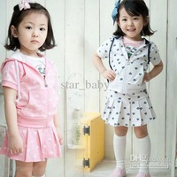 Wholesale 2012 NWT Girl Clothing Set Hoodied + Skirt 100% Cotton Diamond Print Summer Kids Outfit Cute Design