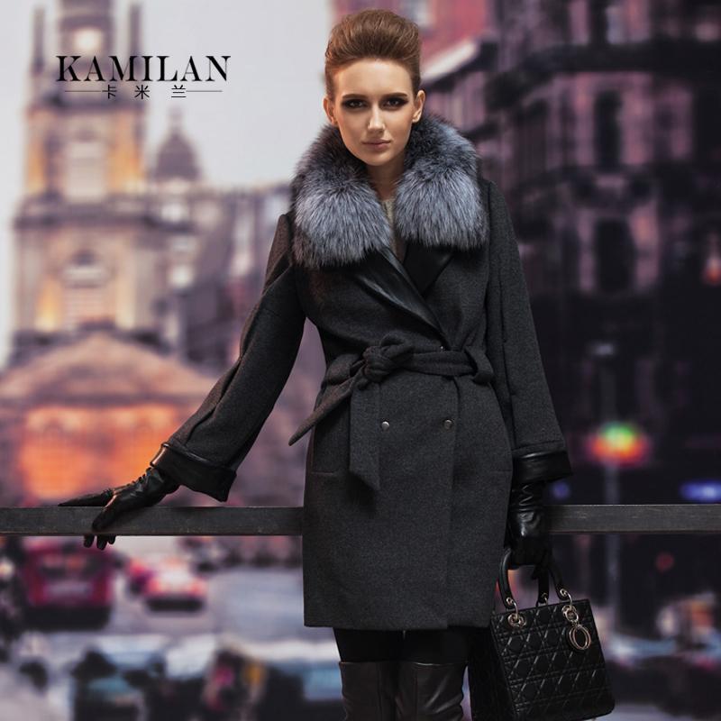 2013 winter fur coat women's boutique luxury plus size fox fur wool ...