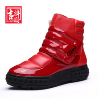 2014 New fashion women boots GBird winter PATENT leather design snow boots velcro women's high-top shoes elevator shoes w5-1882r
