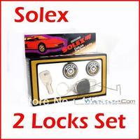 Solex 2 Door Lock Set Hardened Stainless Steel Cylinder Round Key Universal Fit