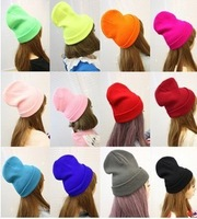 Hot!! Hip-Hop Fluorescent color beanie/hat  Autumn/Winter  knitted hat for men/women 28 colors available 10pcs/lot free shipping