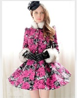 Free Shipping Ladies' Fashion Fall And Winter Coat Rose Flowers Fur Collar Wool Coat Big Swing Wool & Blends 2013 New Arrival