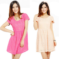 2013 lace skirt high waist gentlewomen lace one-piece dress short-sleeve cutout embroidered dress
