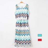 One-piece dress hook needle cutout dress formal sleeveless knitted elegant wide stripe faux two piece