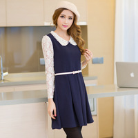 2013 autumn preppy style lace peter pan collar one-piece dress sweet women's chiffon cutout dress