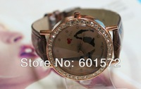 10pcs/lot freeshipping new arrival crystal eiffel tower romantic watch, pu leather band, face with crystal tower and lover heart