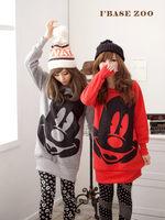 Korean Winter Female Models Cute Big Face Mickey Loose Round Neck Sweater Long Straight Thick Fleece Women Hooded Sweatshirts