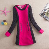 Free shipping 2013 New O-neck autumn woolen one-piece dress elegant long-sleeve women's thickening basic slim  winter