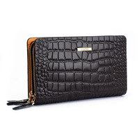 Cattle male crocodile pattern genuine leather day clutch super large capacity double zipper fashion clutch bag 4029