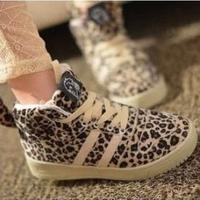 2013 autumn casual sports vintage leopard animal print leopard shoes personalized flat heel villus platform women's shoes