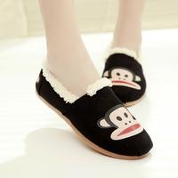 Autumn and winter women's shoes plus cotton suit shoes plus velvet thermal flat bottom single shoes boat shoes
