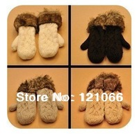 Free Shipping lovely lady winter pure manual weaving upset warm feather fashion hang neck wool gloves