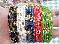 Free shipping 50pcs Mixed colors bead bracelet gold basic