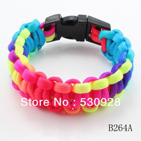 2013 colorful rainbow neon parachute cord camping survival paracord bracelet with plastic buckle free shipping