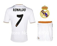 13 14 Real Madrid home soccer jersey and shorts best thai quality ronaldo ozil kaka sergio ramos jersey