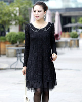 Free Shipping,2013 new arrival fashion women lace dress with rhinestones,pure color,OF3163,women fashion clothes,fase delivery