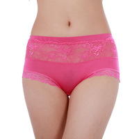 Fashion panty antibiotic breathable modal cotton lace mid waist plus size panties