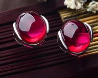Luxury Semi-Precious Stone,Green Agate,Cat's Eye's Stone,Sapphire,Ruby,925 Sterling Silver,Stud Earrings For Women OE33