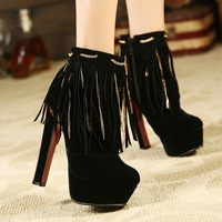 2013 vintage style high hick heel tassel boots female high-heeled boots fashion shoes princess winter shoes for women