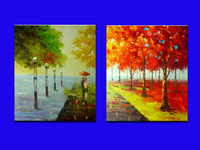 Handmade Impressionist Landscape Oil Painting Lover In Fall Lane Wall Canvas Sets Home Decoration Wall Art Free Shipping #4