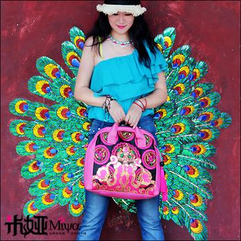 Embroidery one shoulder handbag messenger bag faux leather PU bag banquet bag