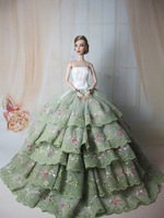 Handmade Light Green Evening Dress Clothes Gown Skirt  for Barbie Doll