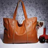 Women's fashion Casual genuine leather handbag shoulder cluth Tote solid color