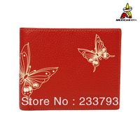 2013 women's genuine leather wallet red short design wallet cowhide women's horizontal wallet