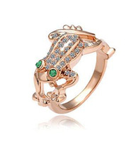 Retail austrian crystal frog rose gold plated ring