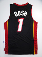 Drop shipping, Wholesale Basketball Jersey, Miami #1 Chris BOSH Black Men's Jersey, embroidery logos size 44-56