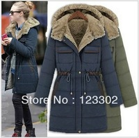 Faux fur lining women's fur Hoodies Ladies coats winter warm long coat jacket cotton clothes thermal parkas S0070