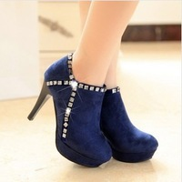 New arrival shoes woman 10cm high-heeled wedding shoes black blue women pumps with bowtie and rhinestone decoration