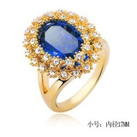 Retail New Fine Austrian crystals elliptic flower queen alloy ring !