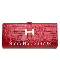 Fashion luxury 2013 crocodile pattern genuine leather long wallet design female japanned leather coin purse all-match cowhide