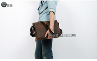 Free shipping 2014 Genuine leather classic casual shoulder bag ,fashion simplicity brown men's messenger bag