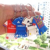 2pcs/Lot,new 13-14 season Free shipping football fan key chain/ring with big european clubs&super stars' jersey no. fan souvenir