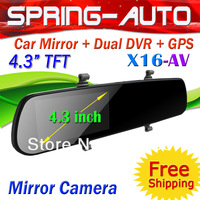 "FREESHIPPING 4.3"" TFT Scren Car Mirror camera DVR Recorder HD 1080P GPS Tracker + G-sensot Motion detect+ SOS"