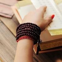 5 Pcs! T12 Tibetan Jewelery Red sandalwood Wood 216 6mm Prayer beads Multiturn Buddha Bracelet Wholesale Men / Women Gift