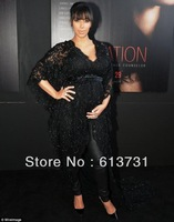 Free Shipping Sexy Deep V-Neck Red Carpet Evening Dress Long Black Beaded Lace Kim Kardashian Celebrity Dress With Sleeve BO3085
