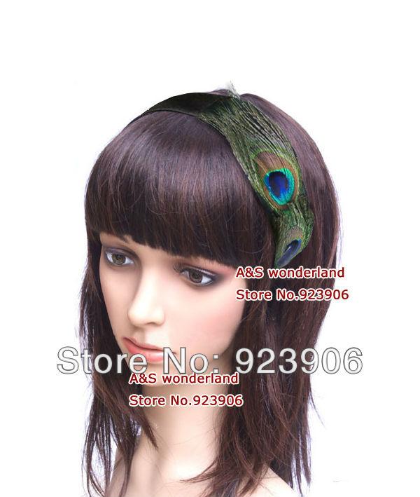 peacock hairbands hairpiece women's clip in hair jewelry black satin hairband(China (Mainland))