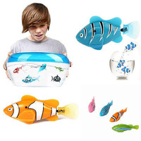 hot sale 10 pcs  Novel Robo Electric Toy Pet Fish With Aquatic for Kid Children Best Gifts baby free shipping