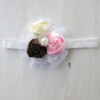 2013 vintage rosette lace  cruster  head flower With lace  flower & band & star shape Metal Crystal Center,free shipping