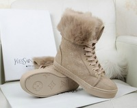 Free Shipping 2013 new fashion Brand genuine leather Women Warm ribbit fur Winter shoes high Quality Lady Snow Boots 2colors
