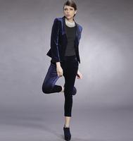 2013 new arrival brand fashion brief pleuche womens business suits dark blue outerwear slim casual blazer pants suit elegant set