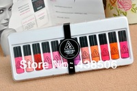 12pcs/lot Free Shipping Cheap Price Professional Cosmetic Makeup 12 Color Gorgeous Lipsticks Lip Gloss sample,