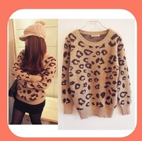 Hot Leopard Printing Women Sweaters Long Sleeve Knitted Pullovers Fashion Free Shipping!